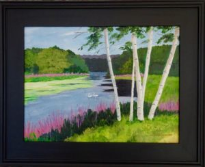 """Swans on the Assabet"" by Dee Glorioso. Framed acrylic painting, 17x21."